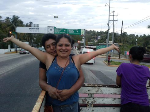 Lili -pictured with Uriel- demonstrating how I feel riding in the truck