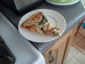 spinach pizza! good for every day of the week? no. good for today? yes!