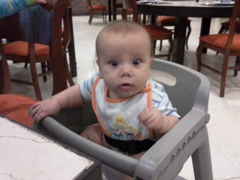 Khalil is a trooper everywhere we go. At the hotel restaurant in Mexico City, Mommy needed to eat without holding the baby, and ta-da! Khalil learned to sit in a high chair. He's  a good traveler, too.